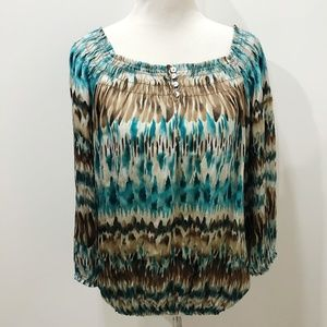 LARRY LEVINE Blouse Blue Brown Tie Dye Blouson